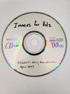 "A gray CD reading ""Images for Volz: Elisabet Ney Museum, April 2007"""