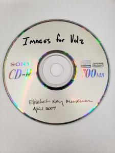 "A gray CD reading ""Images for Volz: Elisabet Ney Museum, April 2007"""