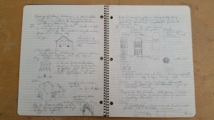 Notebook containing course notes for a Romanesque Architecture class Alofsin took at Columbia University