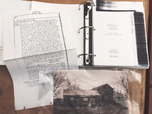 Historical research on The Allcorn House compiled by Volz & Associates, Inc approximately 1995. Historic preservation requires in-depth research into the building and can even mean pulling historical photos or land deeds to ensure accurate revisions and preservation. The above photo shows photographs provided by Jane Barnhill that show original structure of the Allcorn House, plus scanned copies of the original land deeds from1834-1841 and 1878-1888.