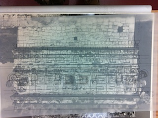 Chichen Itza Palace photo with building sketch on mylar overly