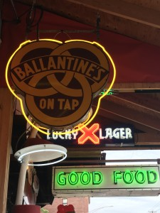 One of my favorites! Any guesses why? Ballantine's was Martin Crane's (from Frasier) favorite beer!  In the background, you can see more neon.
