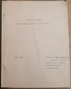 GSD student Raymond F. Leonard's 1931 thesis, an example of student work accumulated in the archive