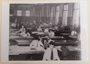 A photograph from the archive of early GSD students working in the historic Robinson Hall