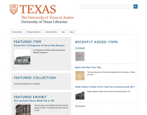 The former UT Omeka homepage on Omeka.org.