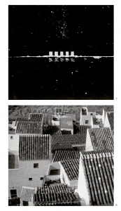 Above: Le Corbusier's proposed skyline for Buenos aires – a sketch from a lecture given in Buenos aires in 1929. Below: The hill town of Casares in southern Spain.