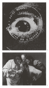 Above: The eye of the camera, detail from the film, The man with a movie camera.  Below: Regardless of our prioritization of the eye, visual observation is often confirmed by our touch. Caravaggio, The incredulity of St.Thomas.