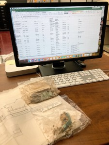 Part of my role has been to conduct a large-scale, item level inventory of the collection. On the screen is a detailed spreadsheet that allows me to take notes about the box, folder, and items discovered. I can provide relevant dates, preservation notes, and details that will help with the overall arrangement of the collection.