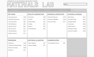 A screenshot of UTSOA's Materials Lab database.